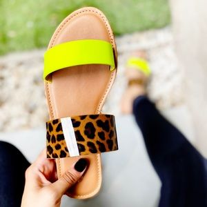 Shoes - Neon Leopard  Double Strap Snake Slides
